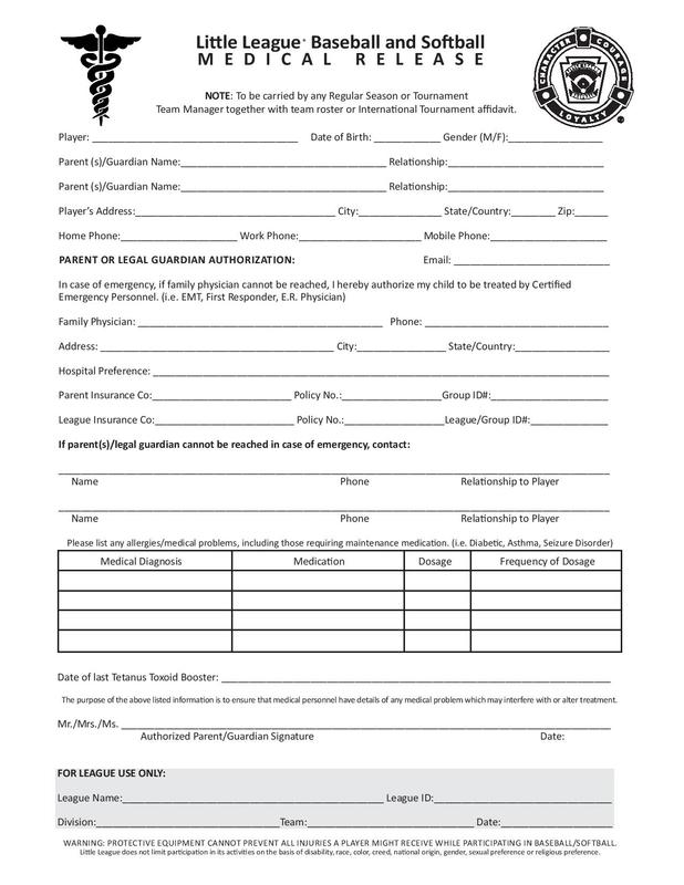 Forms  Sanford Springvale Little League